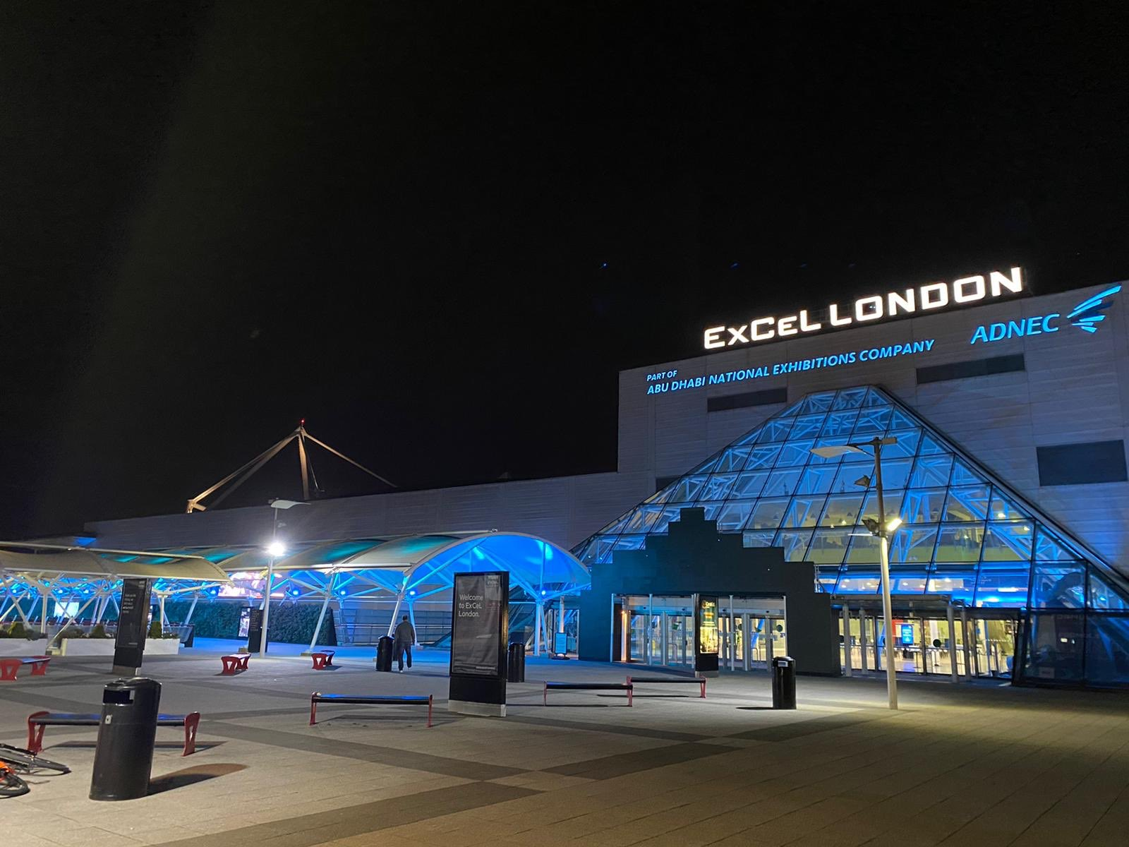 ExCeL Longdon lit up blue to thank NHS UK workers