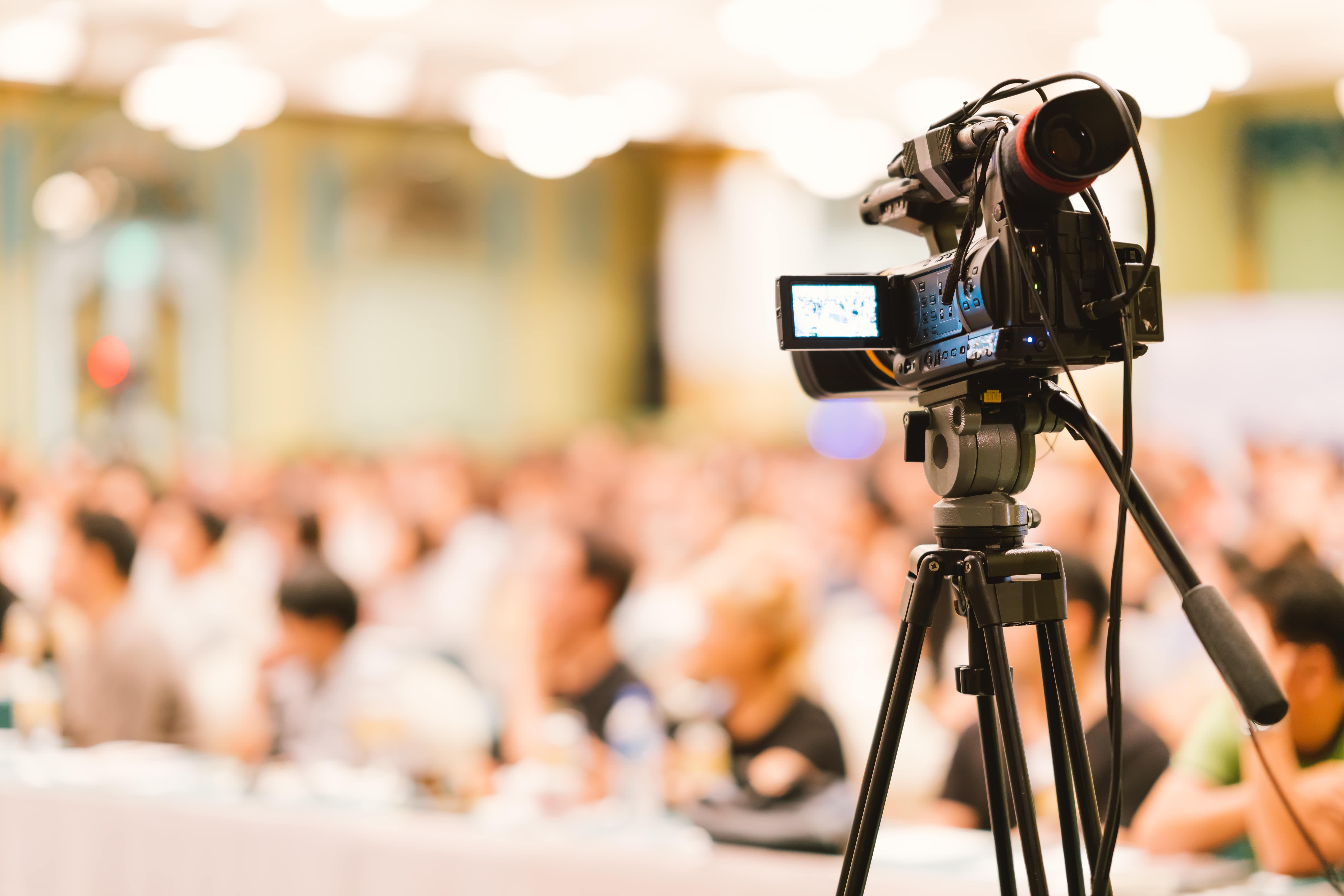 Camera set-up at a corporate event, filming content for highlight reel | Global agency, BCD Meetings & Events