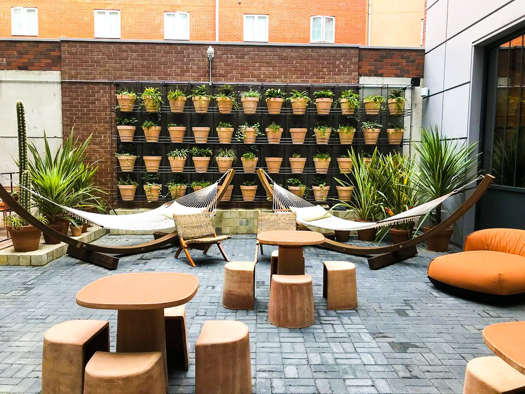 Outdoor seating area at the Locke Living Hotel in Bermondsey central London | Global agency, BCD Meetings & Events
