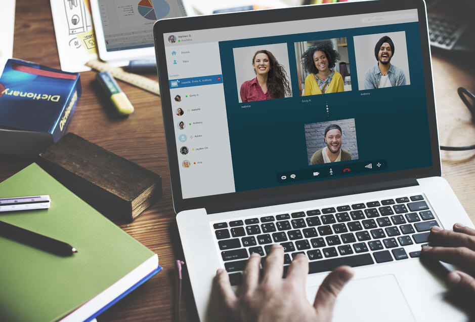 Group of professionals participating in a virtual meeting | Global agency, BCD Meetings & Events